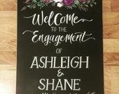 Floral Wedding/Engagement Chalkboard sign