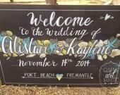 Beach themed wedding chalkboard sign.