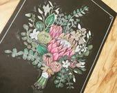 Floral Bouquet Chalk Art