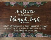 Unplugged wedding welcome sign