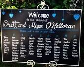 Wedding chalkboard seating chart sign.