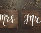 Dark Timber Mr & Mrs Chair Signs