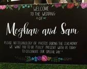 Unplugged wedding sign.