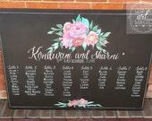 Floral wedding seating chart chalkboard
