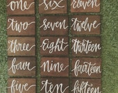 Timber wedding/event table numbers