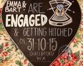 Engagement Save The Date Chalkboard Prop Sign.