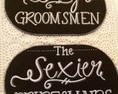 Chalkboard bridesmaid and groomsmen photo prop signs.