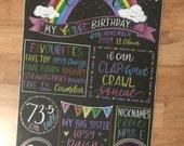 Rainbow themed birthday sign