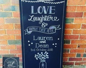 Love Laughter and Happily Ever After Chalkboard Sign.