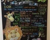Jungle themed birthday chalkboard sign.