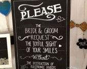 No Photos wedding chalkboard sign.