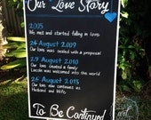 Our Love Story Wedding Chalkboard Sign.