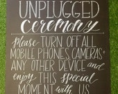 Unplugged wedding chalkboard