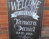 Welcome wedding chalkboard sign.