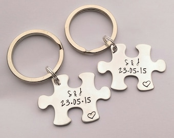 Personalised couples keyring set - personalised jigsaw puzzle piece keyrings 0c5ceade3a