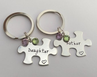 Personalised Mother Daughter gift - jigsaw keyring - mother daughter  matching set - mom daughter set - puzzle keyring - gift for daughter 9b0e6f3df5