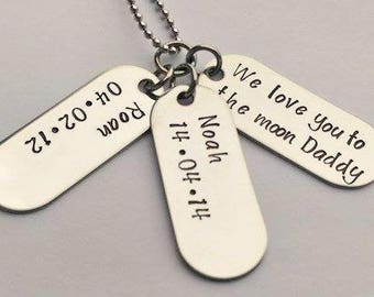 Personalised I Love you to the moon and back necklace - Daddy necklace - fathers day present - gift for Dad Daddy - Daddy jewelry - dad gift