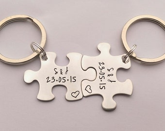 Personalised valentines present - personalised couples keyring set - personalised jigsaw puzzle piece keyrings - personalised his hers gift