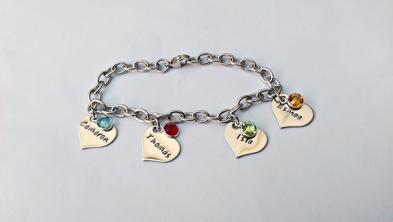 30421e17b82aa Personalised charm bracelet - heart charms - gift for mum - gift for wife,  childrens name jewellery, gift from kids for mum, gifts for women