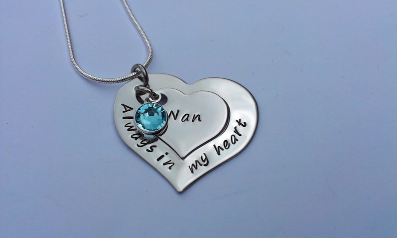 always in my heart birthstone jewellery Personalised remembrance necklace bereavement necklace memorial necklace heart pendant