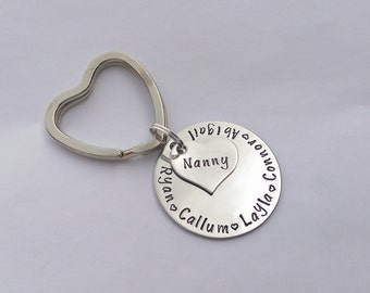 Personalised Grandma gift - nanny gift - Nanny keyring - grandma keyring - gift for her - grandchildren keychain - birthday present gift
