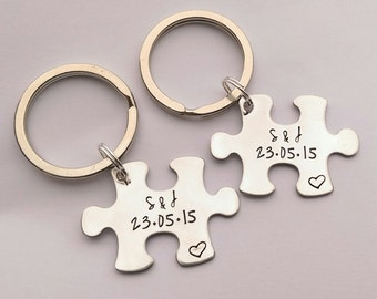 Personalised couples keyring set - personalised jigsaw puzzle piece keyrings, personalised wedding present, personalised valentines day gift