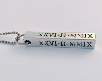 Personalised Roman numerals date necklace - personalized date necklace - mens personalised jewellery - gift present for him dad husband