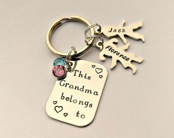 Personalised Grandma gift - Grandma keyring - This Grandma belongs - Grandma present - Grandma keychain - gift from grandkids, grandchildren
