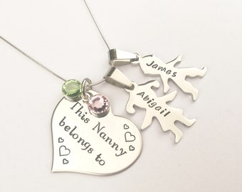 Personalised Nanny gift - personalised grandma gift - Mummy necklace - name birthstone necklace - gift for her - personalised birthday gift