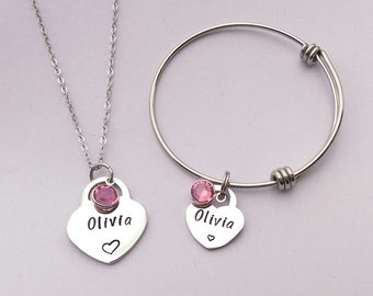 Personalised girls jewellery - personalized girls jewelry - daughter gift present- personalized jewelry - personalised childrens jewellery