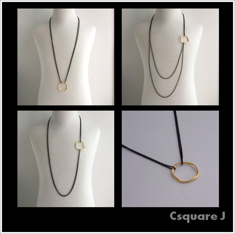 Classic Timeless Eternity Infinity Gold Ring  Silver Ring Long Necklace  with Black chain sunglass holder Minimalist long necklace