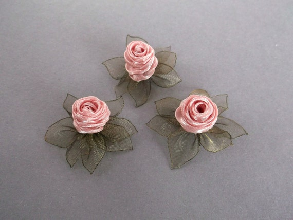 Dusty Pink Artificial Silk Flower Heads Small Hair Roses Etsy