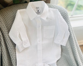 Baby boy 100% pure white linen shirt bodysuit long or short sleeves for baptisms weddings and parties optional embroidery