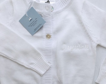 7e5d58871 Baby boy or girl white christening baptism cardigan sweater with personalised  embroidery monogram