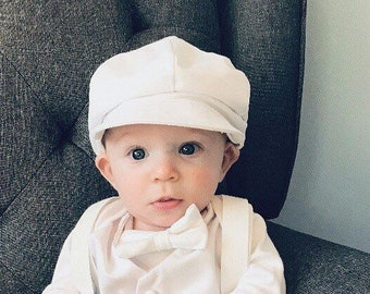 4cf7ae6722b Baby boys white cotton newsboy pageboy hat cap sizes 000-6 for baptism  christening