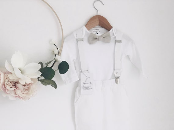Boys baptism pants shoes and hat and Optional baby blue jacket suspenders bowtie wedding or birthday suit with white linen shirt