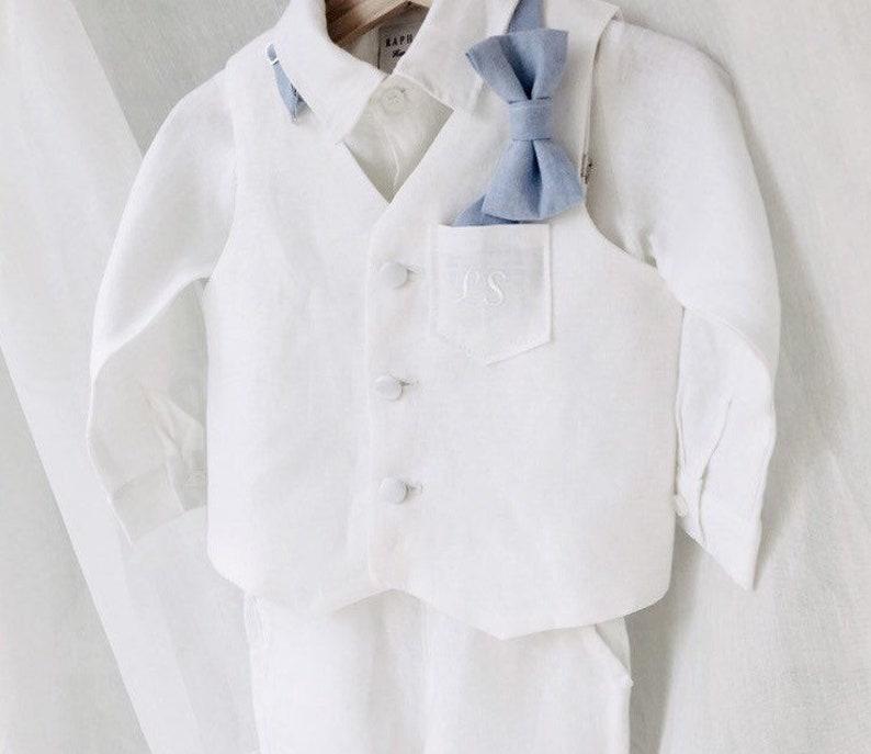 331e36b46c 100% linen boys Baptism outfit with White linen vest waistcoat