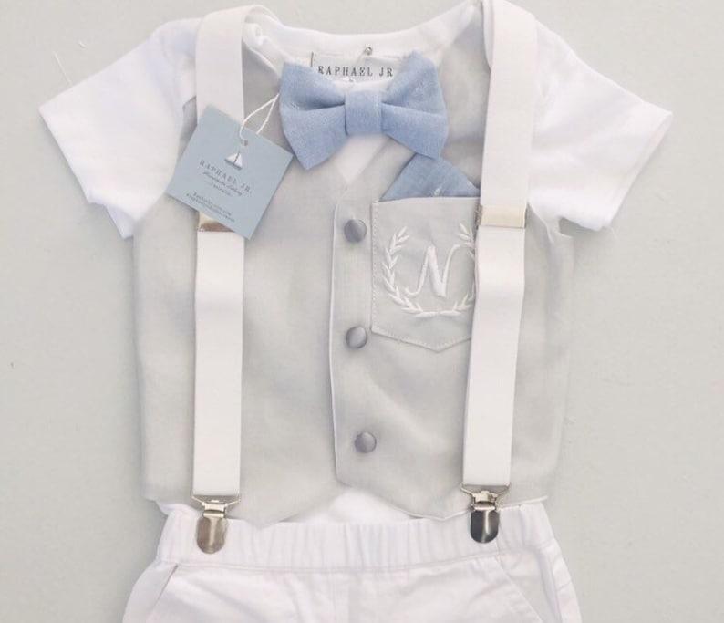 3f87bde823 Baby boy light grey linen vest bodysuit and cotton pants or