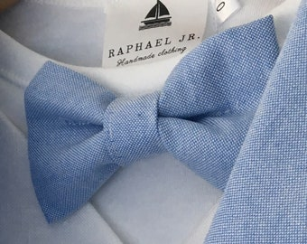 Blue chambray cotton childrens bow tie  adjustable  to fit size 000-8