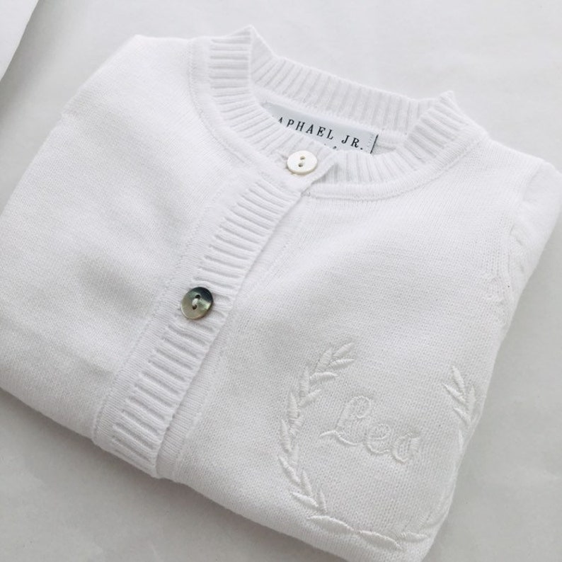 1b00aabac Baby boy or girl white christening baptism cardigan sweater   Etsy