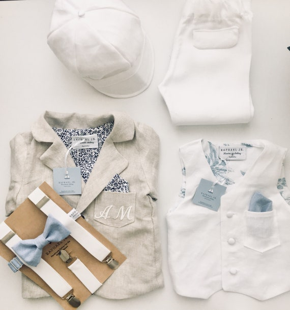 5865629216 100% linen boys Baptism outfit with White linen vest waistcoat and matching white  linen pants and bowtie with optional shoes