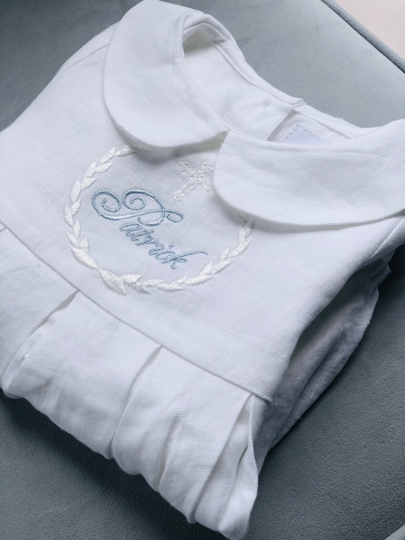 shoes and hat White Linen Baptism or Christening romper with Peter Pan collar with optional monogram