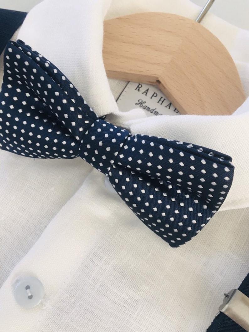 Navy blue children/'s suspenders with blue dot bowtie set fits 6months 6 years