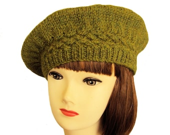 Beret Hat Green Beret Alpaca Wool Winter Hat for Women Gifts for Her 397bdca5c59