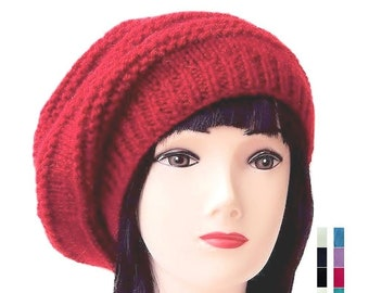Slouchy Beanie Womens Red Hat Red Beret Wool Beanies for Women Slouchy Beret  Hat 41d3d5d0d05