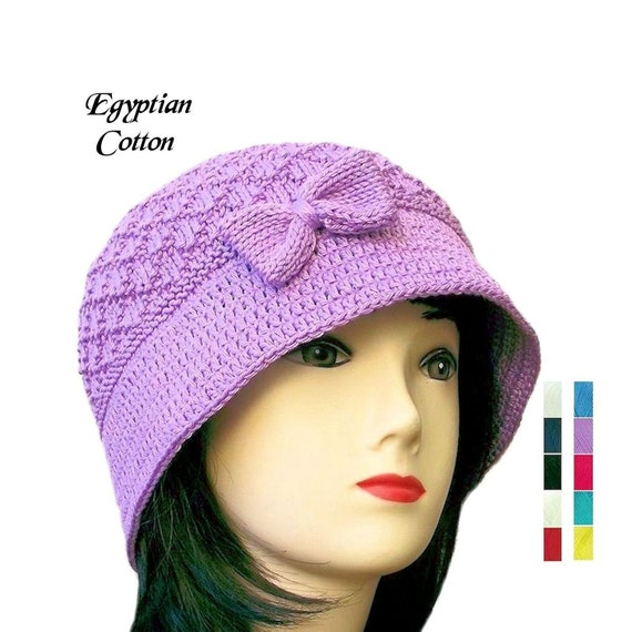 Cloche Hat Cotton Bucket Hat Womens Knit Hat Crochet Hat  b1532c13458