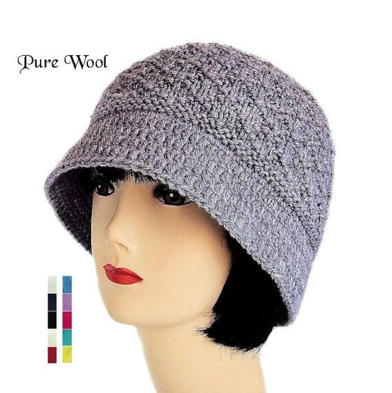 Grey Wool Hat Womens Bucket Hat for Women Winter Hat Ladies  7e76a3435db