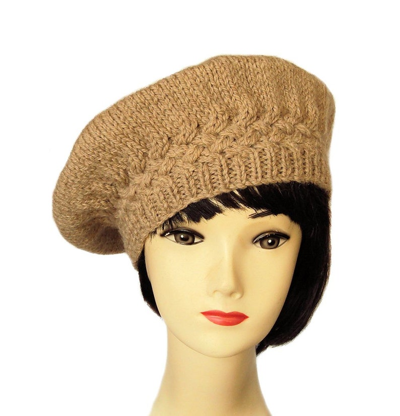 3d5c622cd Brown Beret Hat, Beige Wool Beret, Hat for Women, Gift for Her, Sue Maun