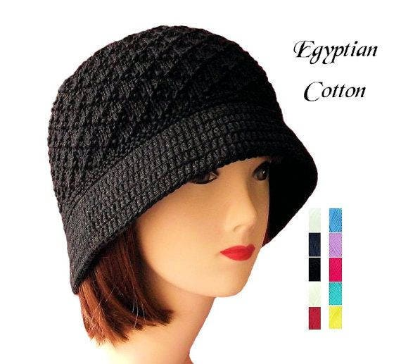 8d9abdd5757 Cloche Hat Black Cotton Bucket Hat Women s Knit Hat with