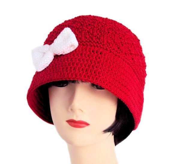 Cloche Hut für Frauen Cloche Hut Mohn roten Hut mit Schleife | Etsy